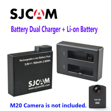Free Shipping!!Original SJCAM Rechargable Li-on Battery Dual Charger Suit for M20 Sport Action Camera DV+1pcs Battery Charger