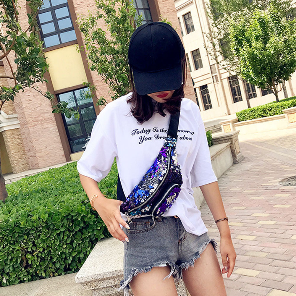 2018 Bling Sequins Waist Bag hit Color Sequins fanny pack Mermaid Wallet  Purses Chest Pack Women travel Phone pouch belt Bag -in Waist Packs from  Luggage ... 0e7e8e53cab8