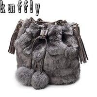 KMFFLY 2018 Winter Fur Grass Tassels Luxury Handbags Women Famous Brand Women Bags Handbags Crossbody Messenger