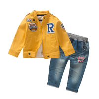 Anlencool 2018 new style spring and autumn loaded jacket letter R three sets of boys baby clothing brand baby boys set