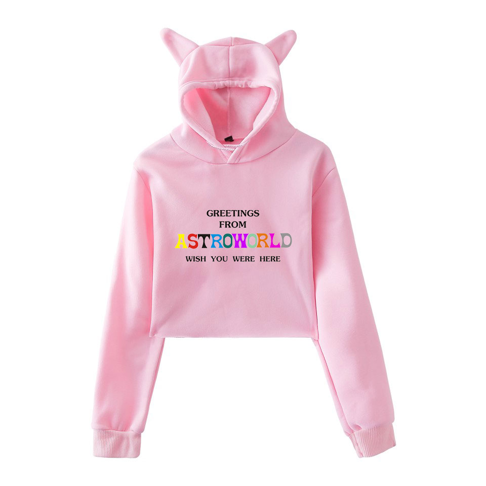 LUCKYFRIDAYF Kpop Travis Scotts ASTROWORLD Kpop Cropped Hoodies Sweatshirt Sexy Cat Fashion Hooded Pullover Crop Tops Clothes in Hoodies amp Sweatshirts from Women 39 s Clothing