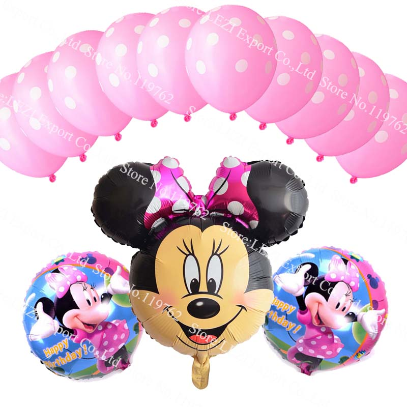 13pcs Minnie Mickey Mouse Theme Party Decoration Combination Latex Foil Balloons Happy Birthday Party Balloons Baby Cartoon Hat Kid's Party