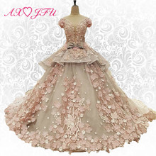 AXJFU New Korean version of the word shoulder lace flowers wedding dress thin font b Slim