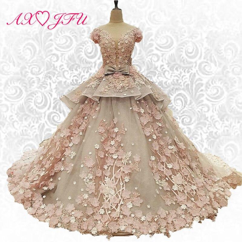 AXJFU Nuova versione Coreana della spalla parola fiori di pizzo abito da sposa sottile sottile Della Sposa di trascinamento abito da sposa xj83920