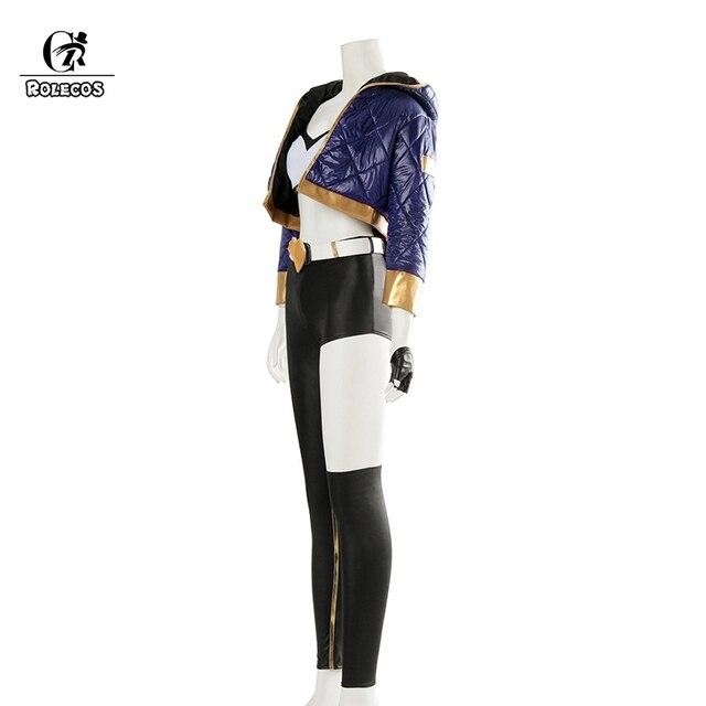 ROLECOS KDA Akali Cosplay Costume LOL AKALI Cosplay Costume LOL K/DA Women Outfit Coat Pants Gloves Bag Hallowen 1