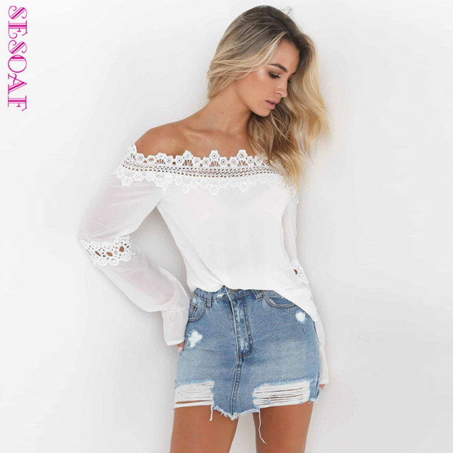 a48b7a2b4d SESOAF Ocasional Fora Do Ombro Chiffon Blusa de Renda Branca Shirt Mulheres  Tops Transparente 2018 Street