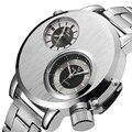Exclusivo Designer Prata Aço Completa Relógios de Pulso Homens Marca De Luxo Dois Dial Esporte Quartz Watch Man Horas rkek kol saati