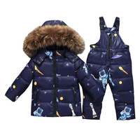 Boys Winter Snowsuit Fur Winter Girl Suit Duck Down Children Boys Clothing Sets Warm Toddler Down Parka Jacket Coat Snow Wear