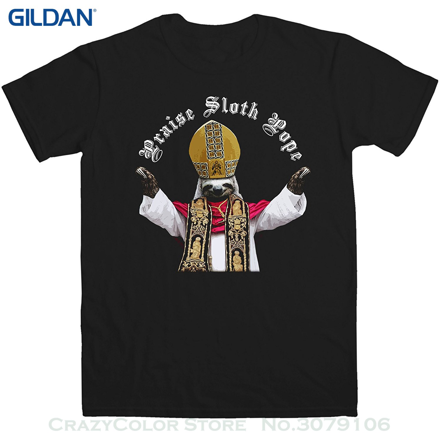 GILDAN Free Shipping Summer Fashion Mens Sloth T Shirt - Sloth Pope - 8ball Originals Te ...