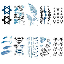 HC01-25 Multi Colors Feather Stars Eagle Wing Temporary Tattoo Sticker Women Body Art Fake Tattoo Waterproof Tattoo Sticker Taty