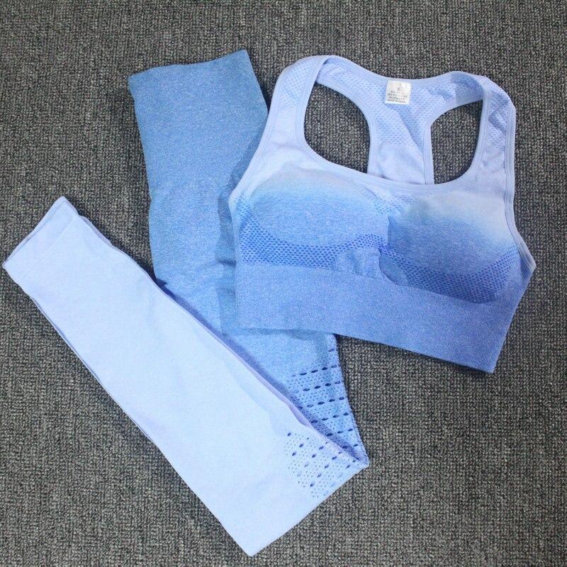 Ombre conjunto 2 peça conjunto de treino feminino sem costura conjunto de yoga roupas de fitness para as mulheres ginásio roupas leggings esportes conjunto