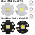 CREE XML2 XM-L2 T6 Cool White 6500 K Neutral White 5000 K Quente branco 3000 K High Power LED Emissor de 16mm 20mm Branco ou Preto PCB