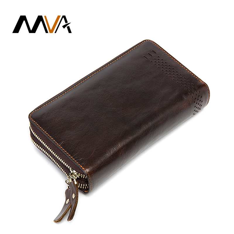 MVA Men Wallets Genuine Leather Wallet with Coin Pocket Double Zipper Wallets Mens Clutch Bags Phone Card Holder Coin Purse Men 2017 women wallet genuine leather purse crocodile mens wallets for mobile phone key holder wristlets zipper clutch carteira
