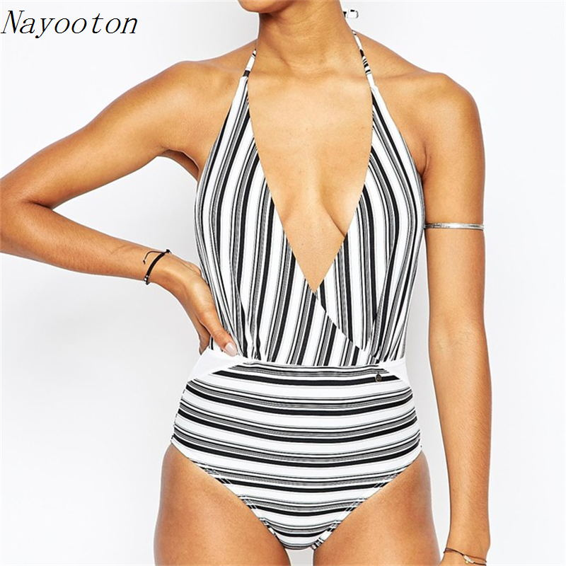 2016 new Sexy Deep V women plus size swimwear Brazilian style personality one piece swimsuit Black white stripes bathing suit kut from the kloth new deep black women s size 2 chinos cropped pants $59