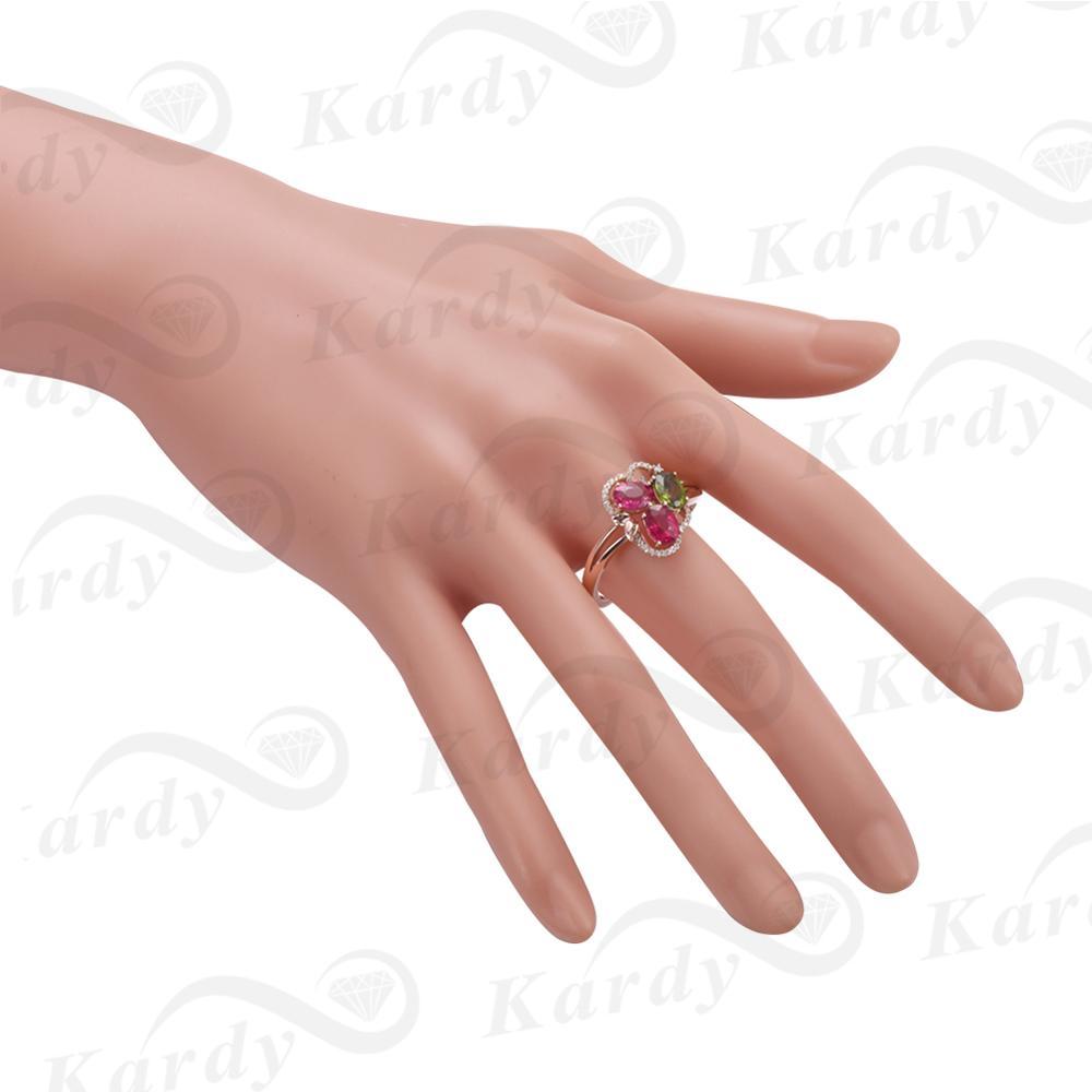 Incroyable Design pierre précieuse Tourmaline naturelle véritable diamant 14 K or Rose bague de fiançailles de mariage ensemble - 6