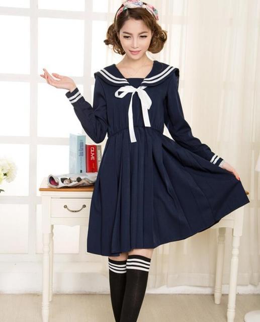 2015 a primavera eo verão Nova moda bonita sólida breve vestido estilo preppy Marinheiro terno uniformes escolares Japoneses