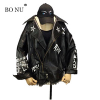 BONU Harajuku Leather Jacket Loosen BF Style Unisex PU Jacket Women Boy Friend Harajuku Black Bomber Jacket Coat Female