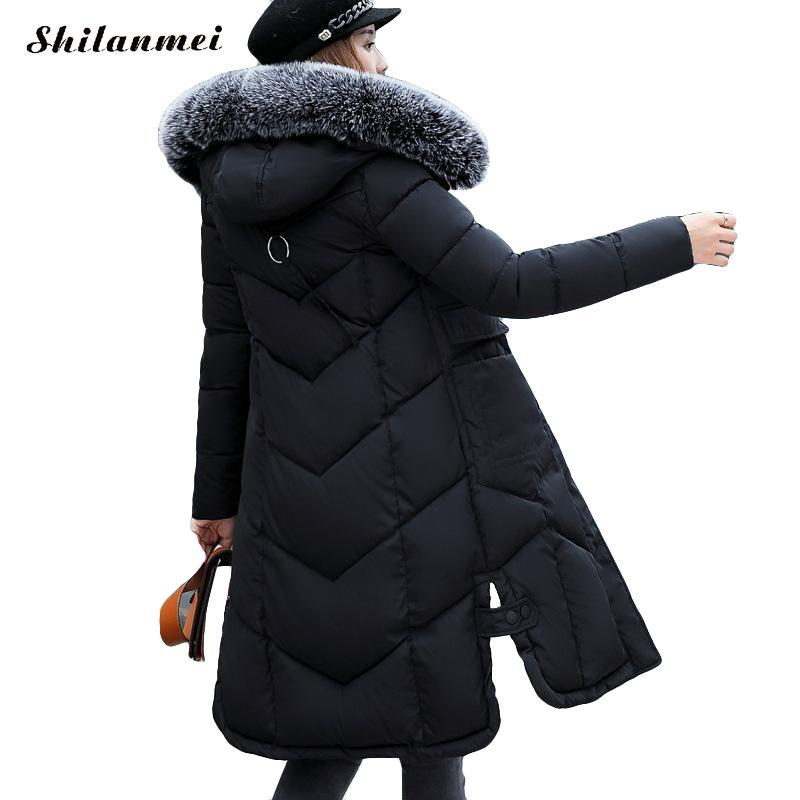 2017 Long Winter Jacket Women Plus Size Thick Warm Cotton Coat Hooded Fur Collar Female Black Fur Parkas Wadded Outerwear XXXL women winter jacket 2017 new fashion ladies long cotton coat thick warm parkas female outerwear hooded fur collar plus size 5xl