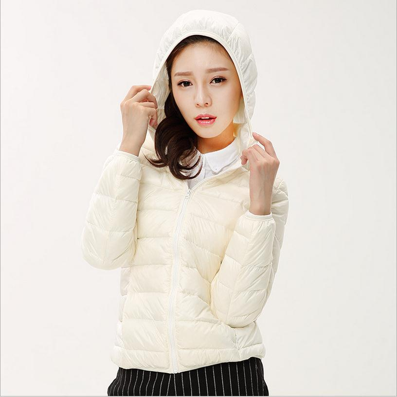 3XL Plus size 90 white duck down hooded thin down jacket 2016 female Slim solid color
