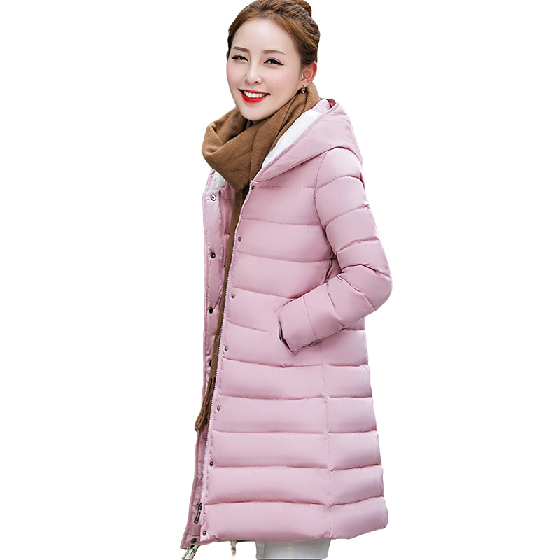 New 2017 Woman Winter Coats And Jackets Slim Long Sleeve Thick Hooded Plus Size Medium-long Parkas Black Padded Jacket KJ1424 e artist men s long winter jacket velvet padded jackets trench coats parka thick fit casual outdoor black wine plus size 5xl a65