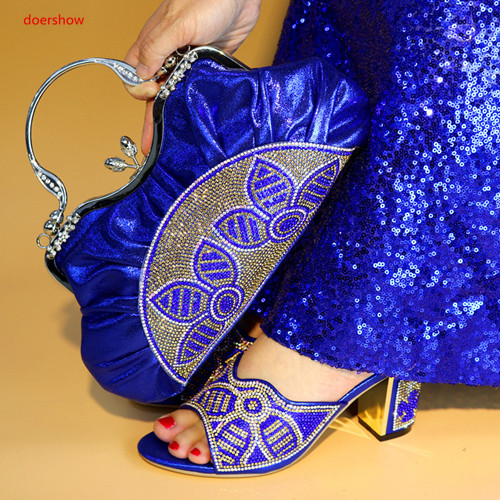 doershow Italian Matching Shoes and Bag Set African Wedding Shoe and Bag Set Italy Shoe and Bag Set Women High Heels SLY1-16 doershow italian shoe with matching bag silver african shoe and bag set new design matching shoes and bags for party bch1 6