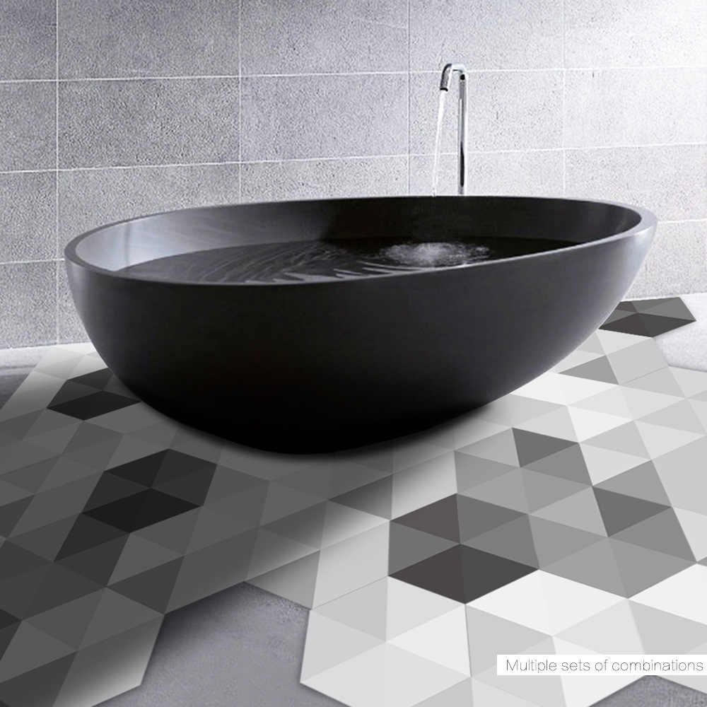 10pc Creative Decorative Sticker Waterproof Non-slip Bedroom home decor Black And White Gray Bathroom Wall Ground Floor Stickers
