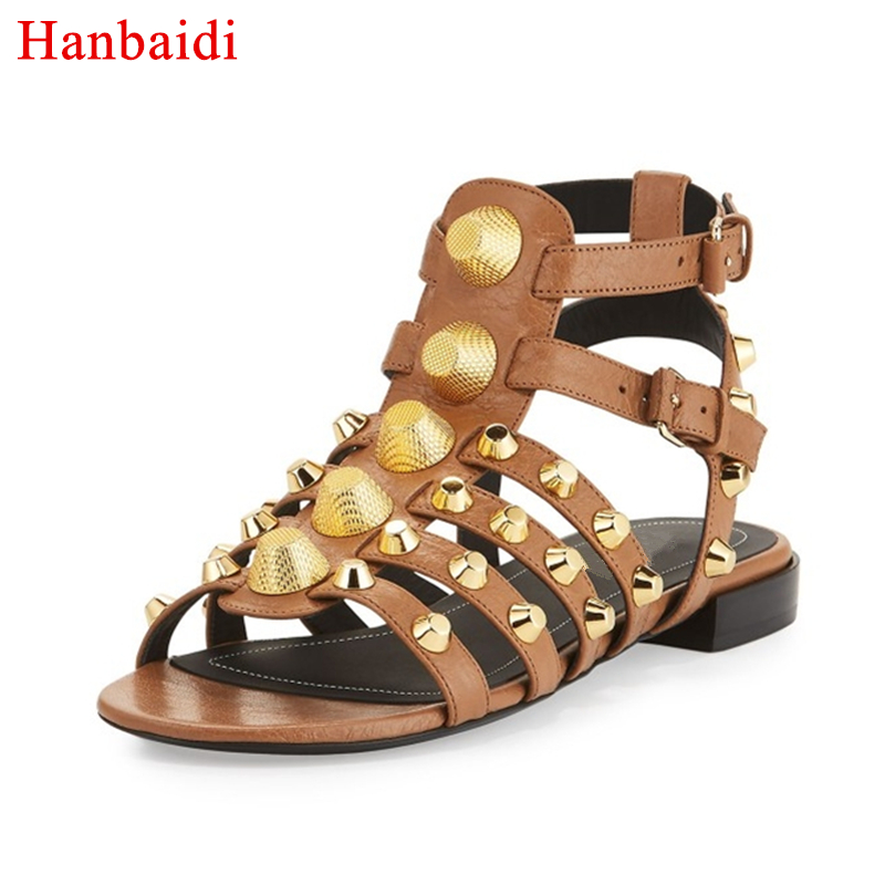 Hanbaidi New Women Summer Sandals Fashion Rivets Studed Rome Gladiator Sandals Peep Toe Buckle Strap Flats Runway Shoes Women 43 anmairon shallow leisure striped sandals women flats shoes new big size34 43 pu free shipping fashion hot sale platform sandals