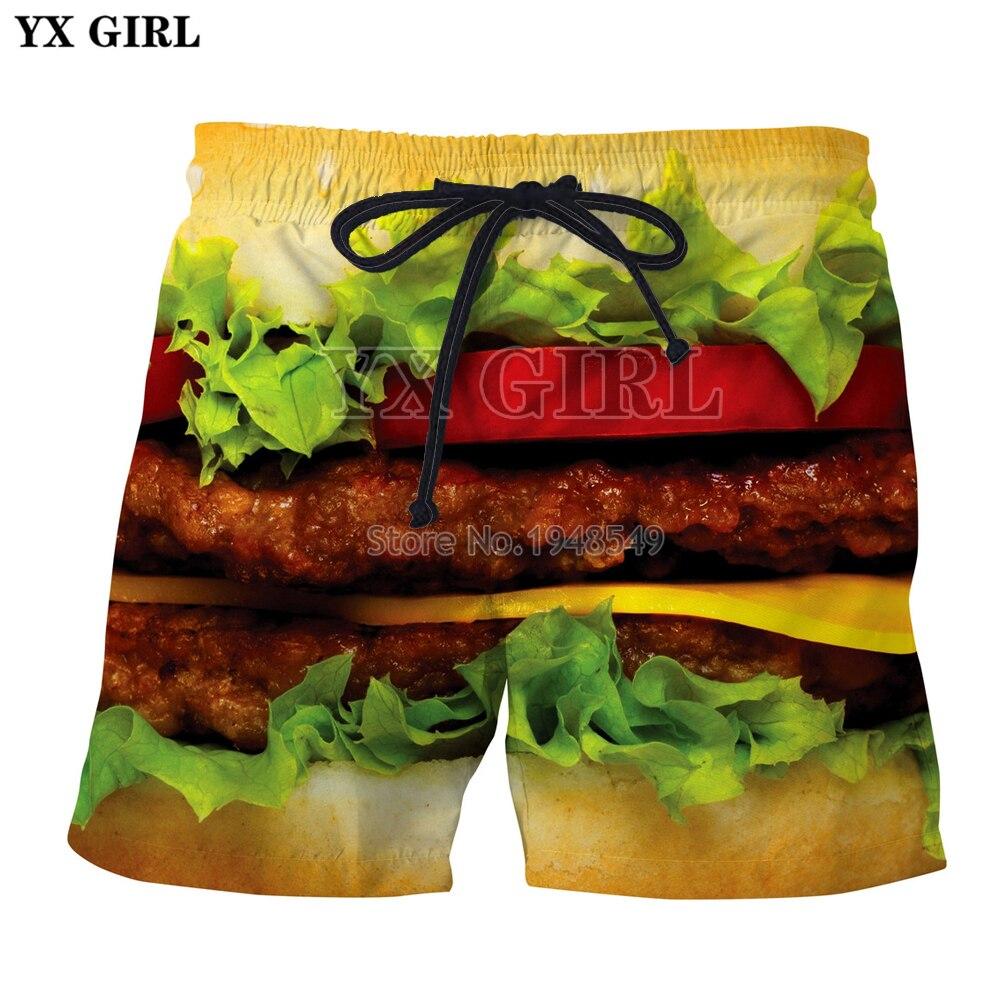YX GIRL Drop Shipping 2018 Summer New Fashion Mens Shorts Delicious Food Burger/Pizza/Beef Printed Cool Casual Shorts