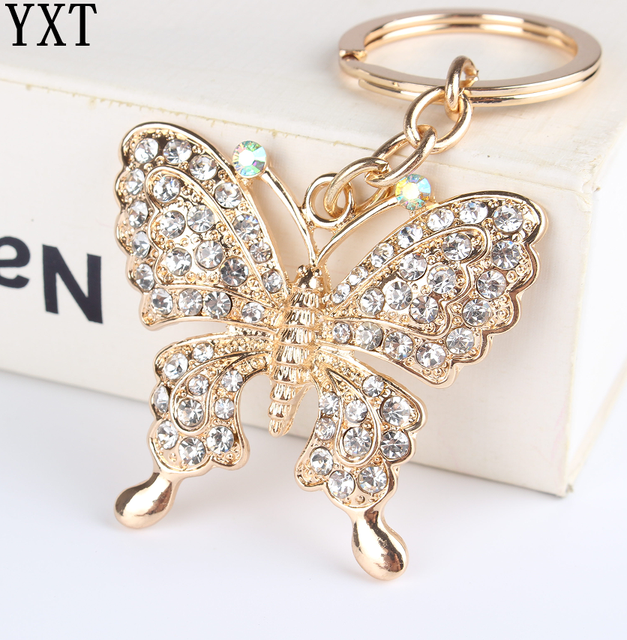 White Butterfly Turtle Pendant Charm Rhinestone Crystal Purse Bag Keyring Key Ch