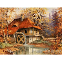 Diy digital oil painting by number paint drawing coloring by number canvas hand painted picture wall decor landscape cabin E095(China)