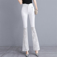 2019 New Bell Bottomed Pants Female White High Waist Trousers Spring Summer Thin Lace Bell Bottom Pants A5135