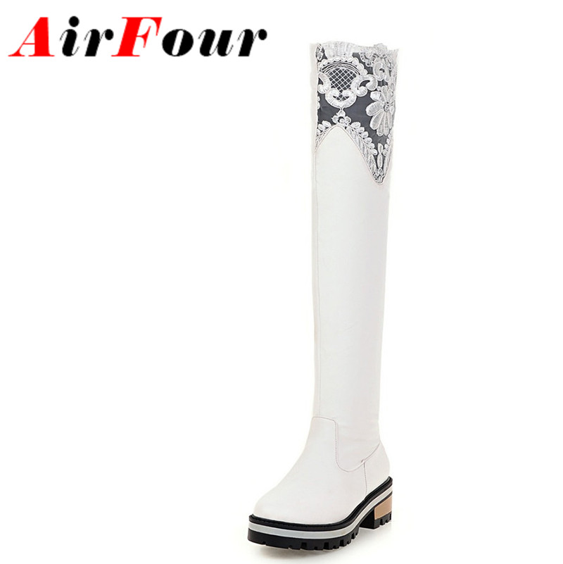 ФОТО Airfour Sexy Lace Long Boots Women Low Heels Platform Boots Wnter Warm Slip-on Knee High Boots Shoes Woman Black White