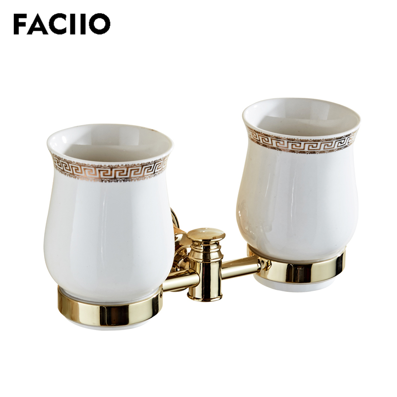 FACIIO Toothbrush Holder Bathroom Cup & Tumbler Holders Wall Mounted Teeth Brush Shelves  Bath Double Cup Holders Sets 5755FACIIO Toothbrush Holder Bathroom Cup & Tumbler Holders Wall Mounted Teeth Brush Shelves  Bath Double Cup Holders Sets 5755