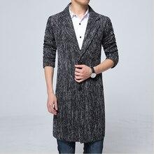 2019 fall and winter men's long lapel coat men's high-quality windbreaker men's casual slim woolen coat men's cotton windbreaker