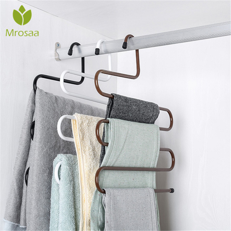 New Wardrobe Storage S Type Pants Trousers Hanger Multi Layers Stainless Steel Clothing Towel Storage Rack Closet Space SaverNew Wardrobe Storage S Type Pants Trousers Hanger Multi Layers Stainless Steel Clothing Towel Storage Rack Closet Space Saver