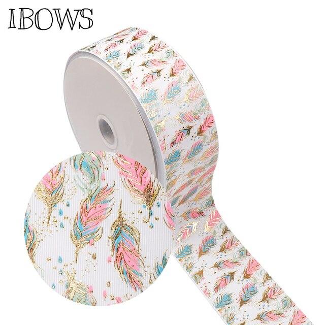 """IBOWS 3 """"(75mm) folyo Baskılı Şerit Renkli Folyo Tüyü DIY Saç Yaylar Aksesuarları El Yapımı Malzemeler Hediye ambalaj bandı 2 metre"""