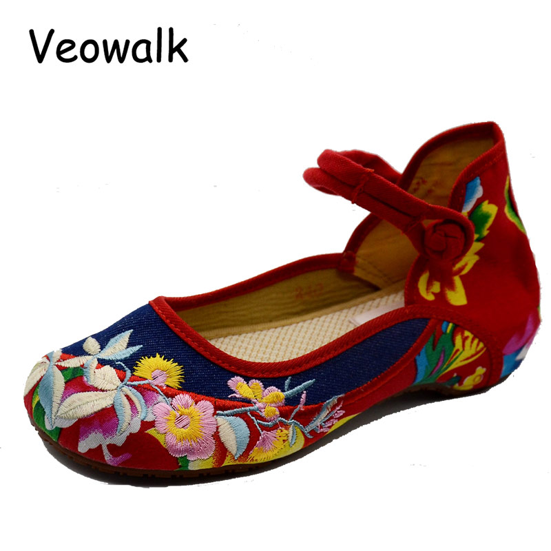 Veowalk Plus Size 41 Fashion Women's Old Beijing Mary Jane Flats Casual Jeans Shoes,Chinese Embroidered Cloth Denim Shoes Woman цены онлайн