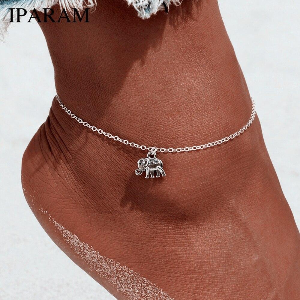 Foot Chain Tibetan Silver Plated Hollow Elephant Animal Shaped Anklet Tornozeleira Bracelet On Leg Pulsera For Women Jewelry