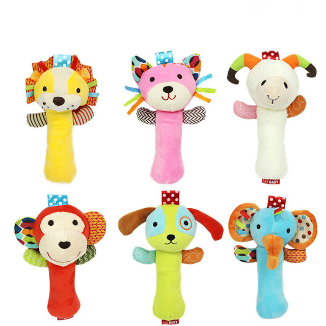 1pc Top 20cm Infant Baby Rattles Crib Stroller Toy Plush With Sound Cat Dog Early Educational Monkey Lion Bed Baby Play Toys