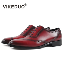 VIKEDUO Luxury Brand Newest Fashion Men Shoes Custom Handmade Genuine Leather Man's Formal Shoes For Wedding Business