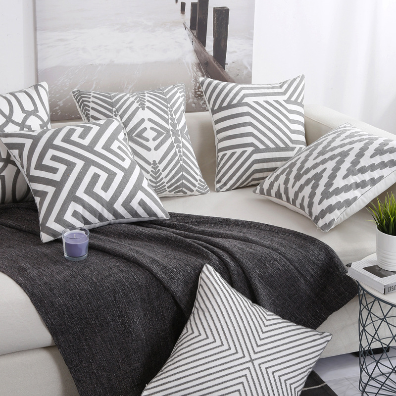 45 45 Cotton Printed patterned Geometric Cushion Cover Pillowcase Kids Room Home Sofa Chair Car Decorative Pillow Case white in Cushion Cover from Home Garden