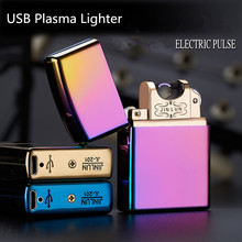 USB Lighter Electronic Cigarette Accessories Torch Pulsed Arc Windproof Thunder Metal Plasma Cigar