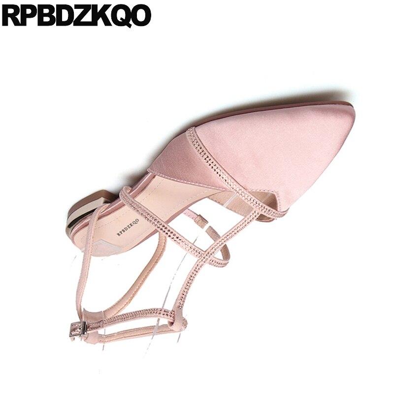 Robe Sandales Black Femmes Partie Strass suede Cristal Satin Noir Véritable Pointu Chaussures suede rose Cuir Bout Rose Diamant Slingback En Pink Cheville Appartements Bracelet xRqwzRAO