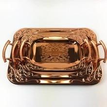Розовое золото прямоугольный поднос Ретро чай лоток торт украшения для лотков Коробка импортируется из скандинавских технологий новые продукты