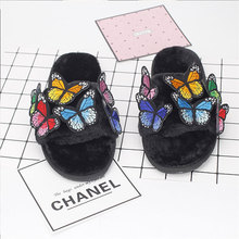 ФОТО women's home slippers 2018 popular winter warm cozy indoor faux fur soft colorful butterfly shoes women basic fleeses slippers