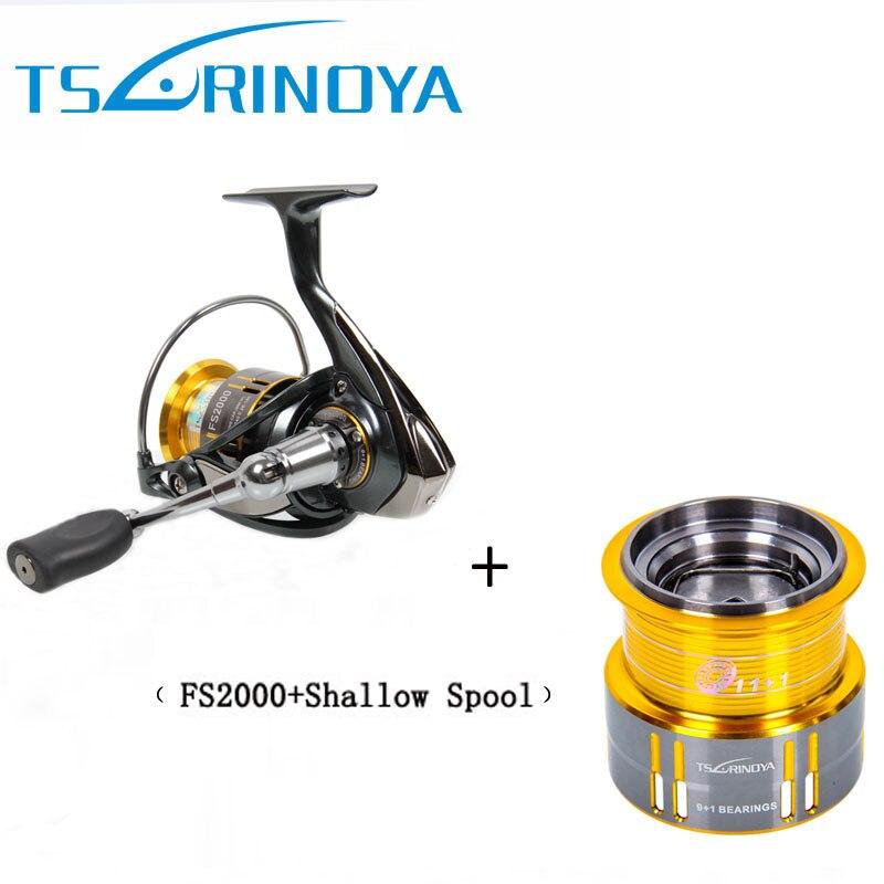 Tsurinoya fs2000スピニング釣りリール9 + 1 bb 5.2: 1金属スプールネジでハンドル付きスペアスプール非常に滑らかな  グループ上の スポーツ & エンターテイメント からの 釣りリール の中 1