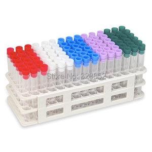 "Image 1 - 16x100 מ""מ מבחן 60 צינורות סט צינור פלסטיק 12 ml עם Rack Caps 4 צבעים שנשלחו באופן אקראי, קצת שונה עם תמונה יחידים"