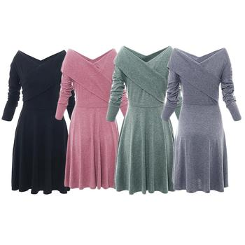 Новое осенне-зимнее женское облегающее платье с v-образным вырезом и длинными рукавами, модное платье для похудения, сохраняющее тепло