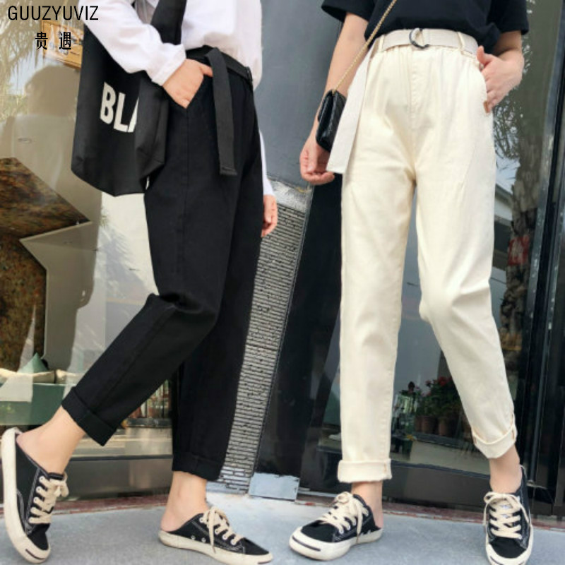 Guuzyuviz Autumn Winter Casual Jeans Woman Cotton Elasticity Denim High Waist Plus Size Patch Work Washed Harem Pants Mujer Bottoms