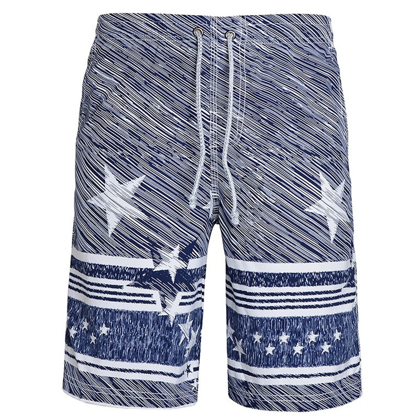 Newly Design Mens Breathable Quick Dry Beach Swimwear Star Print Pocket Board Shorts Trunks 80425